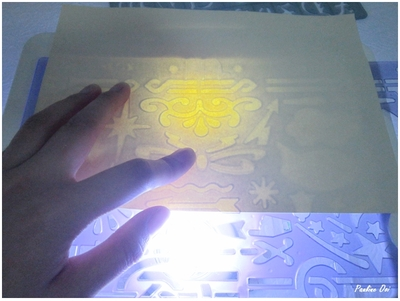 Placing of stencil and paper