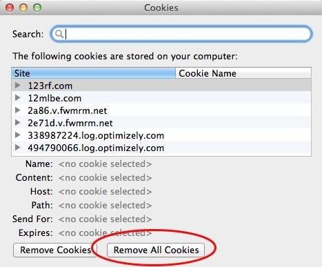 how to clear firefox cookies mac