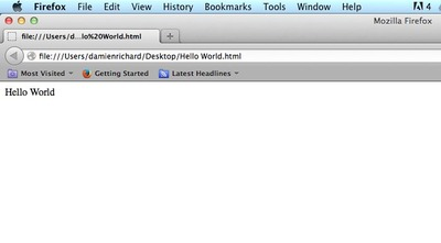 html, hello world, firefox