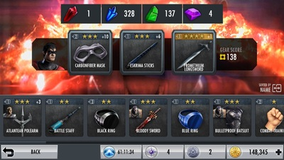 Injustice Gods Among Us Mobile Gear Selection