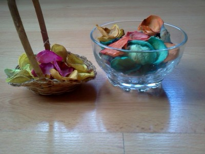 making pot porri with flower petals