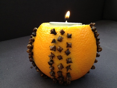 orange, pomander, cloves, Christmas, candle