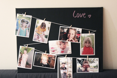 photo board, photo clothes line, photo display, diy home decor, family photos, diy blackboard