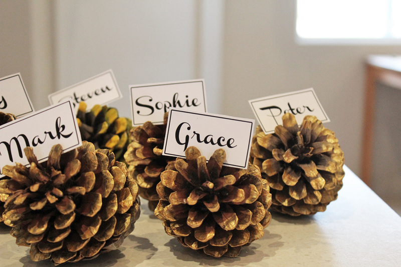pine cones, name place, dinner party, wedding, diy, pine cone craft  - Make Pine Cone Name Place Settings